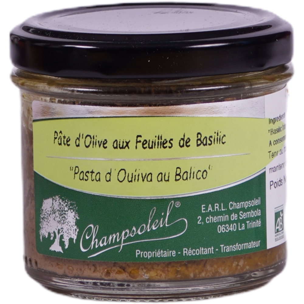 Olive Pate with Basil Leaves