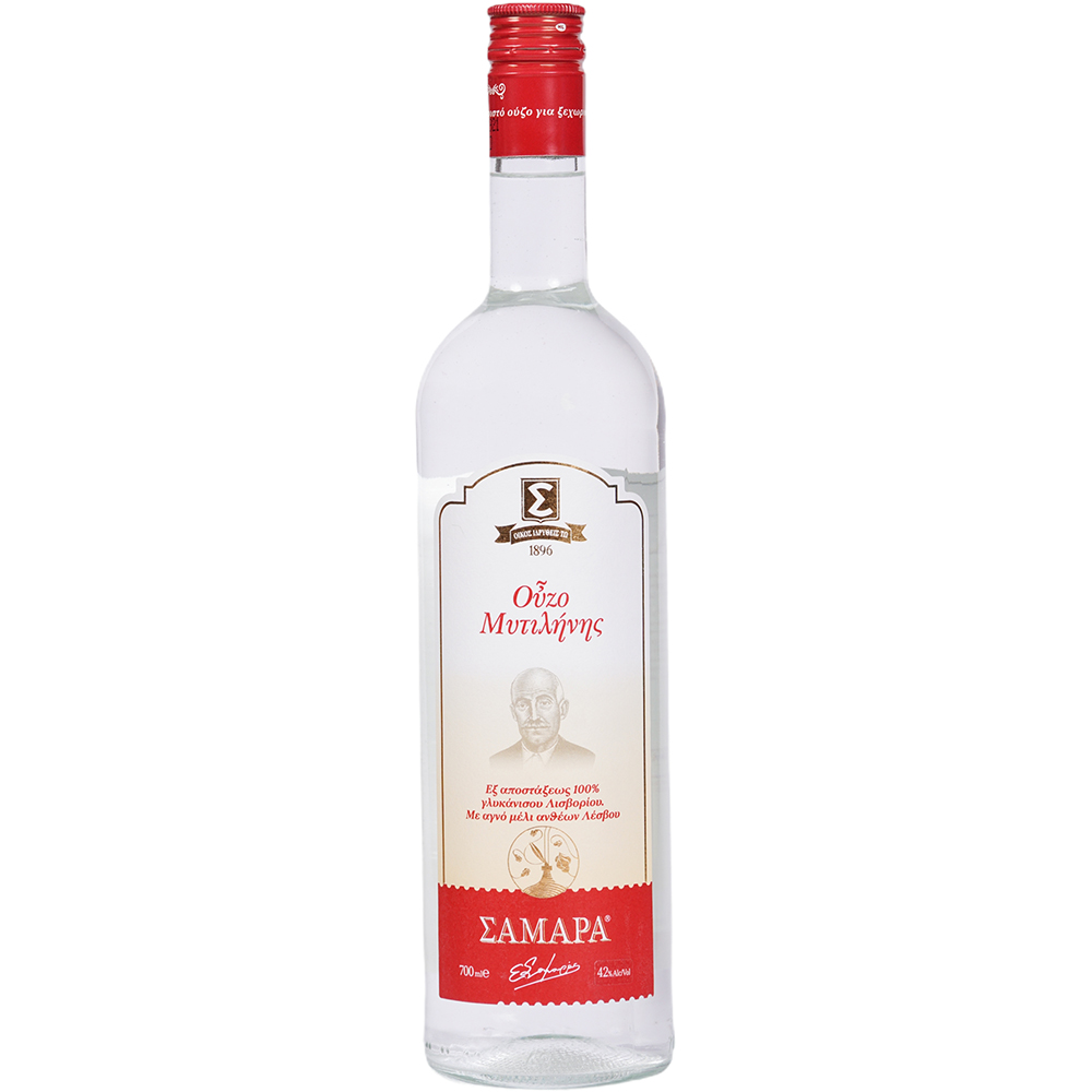 Ouzo Mitilinis Samara by distillation of 100% Anise of Lisvori with pure Honey of Lesvos flowers