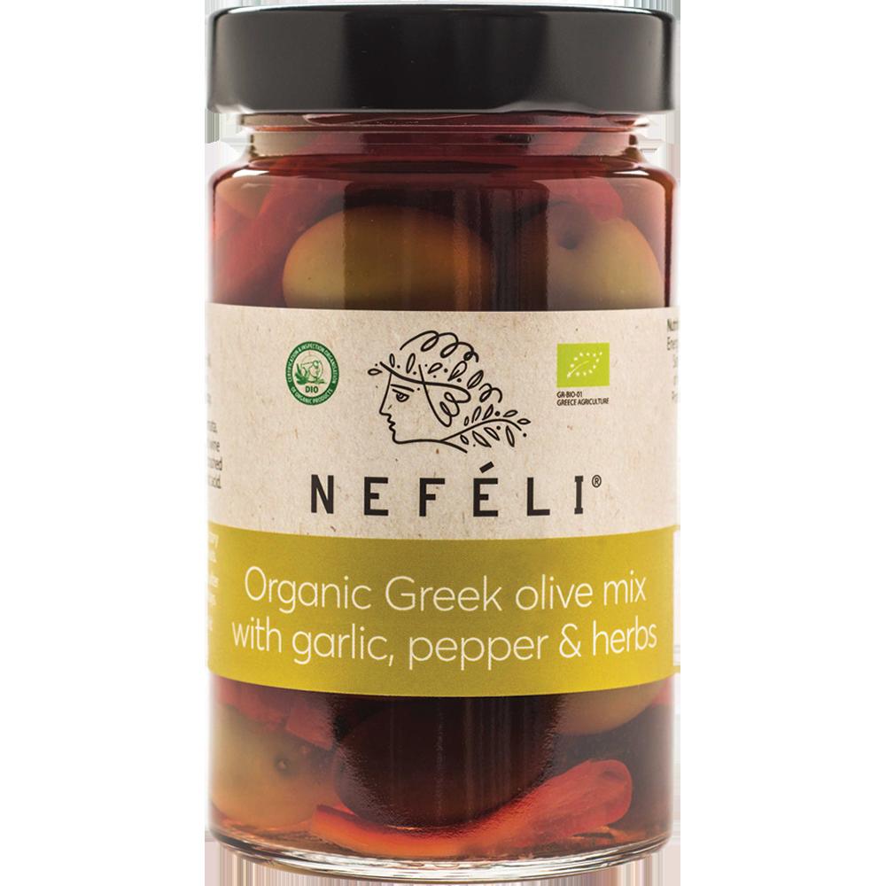 Nefli Organic Olive mix with garlic pepper & herbs